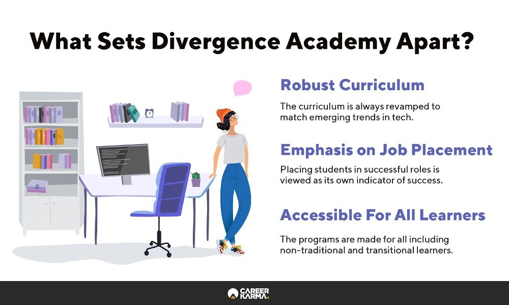 Infographic highlighting qualities that set Divergence Academy apart