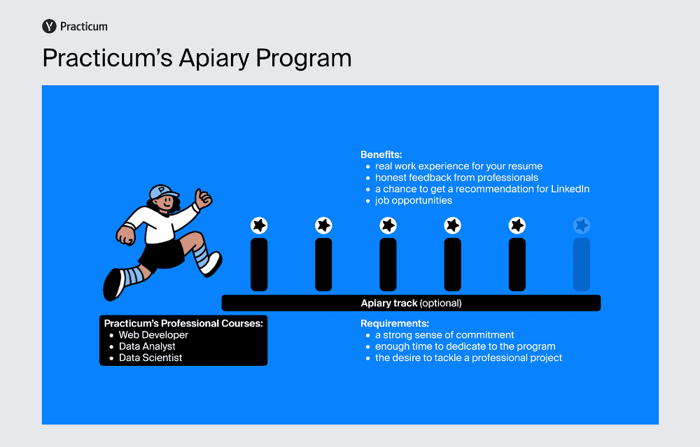 Infographic showing the details of Practicum by Yandex's Apiary Program