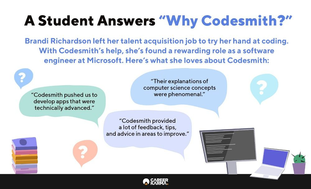 Infographic showing what a student loves about Codesmith