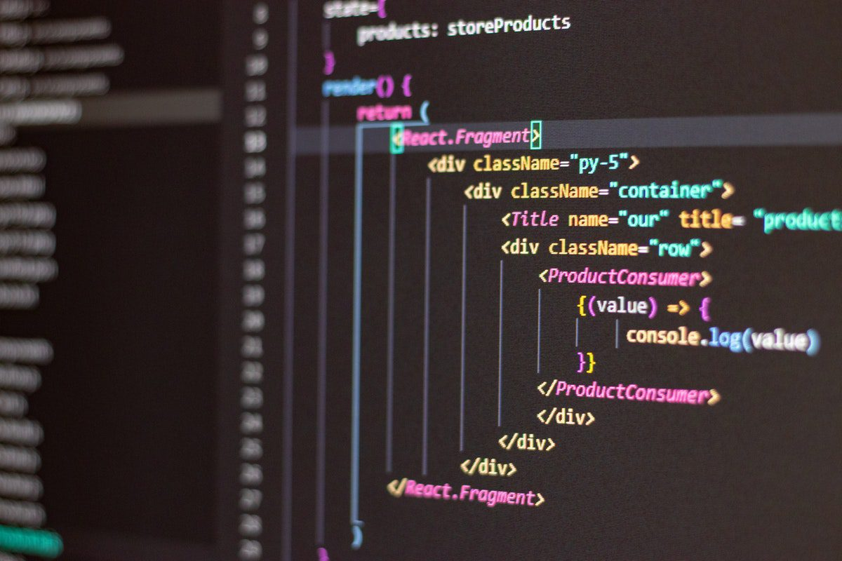 a black screen with code How to Become an Angular Developer
