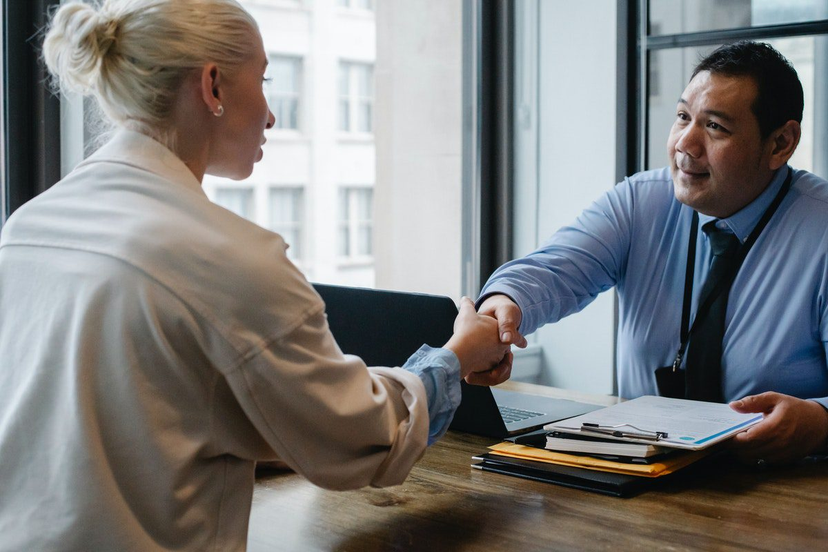 Job candidate in an interview with a recruiter. Recruiter Interview Questions and Answers