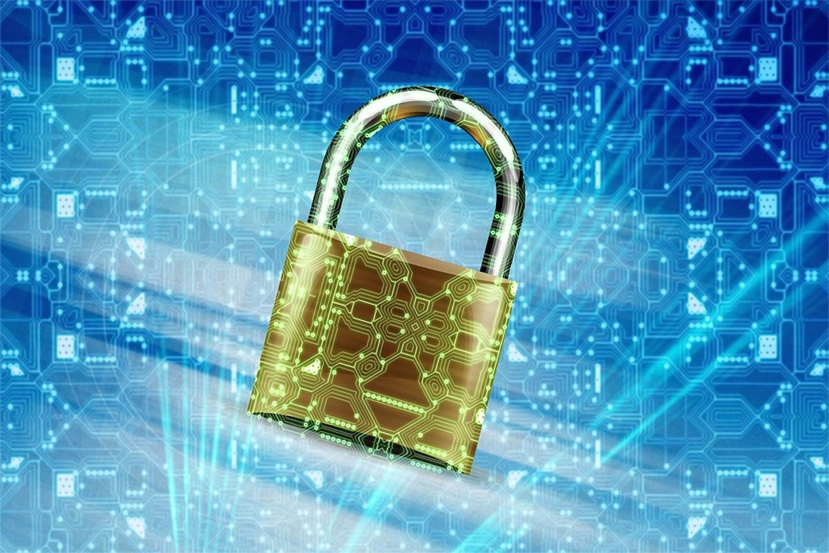 A picture displaying a padlock in a virtual space. Information Security Bachelor's Degrees