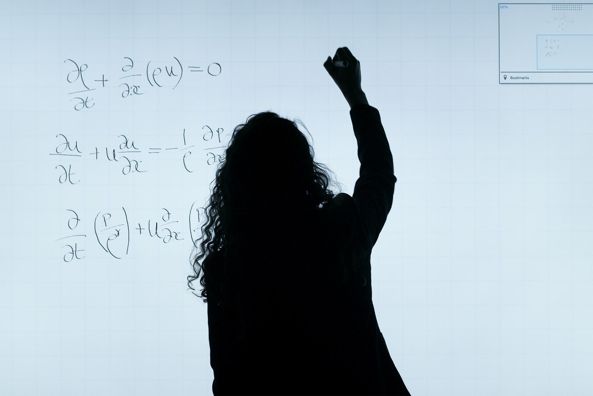 A woman solving equations on a whiteboard. Jobs for Math Majors